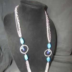 Jewelry - Silver tone & faux stone necklace NWOT